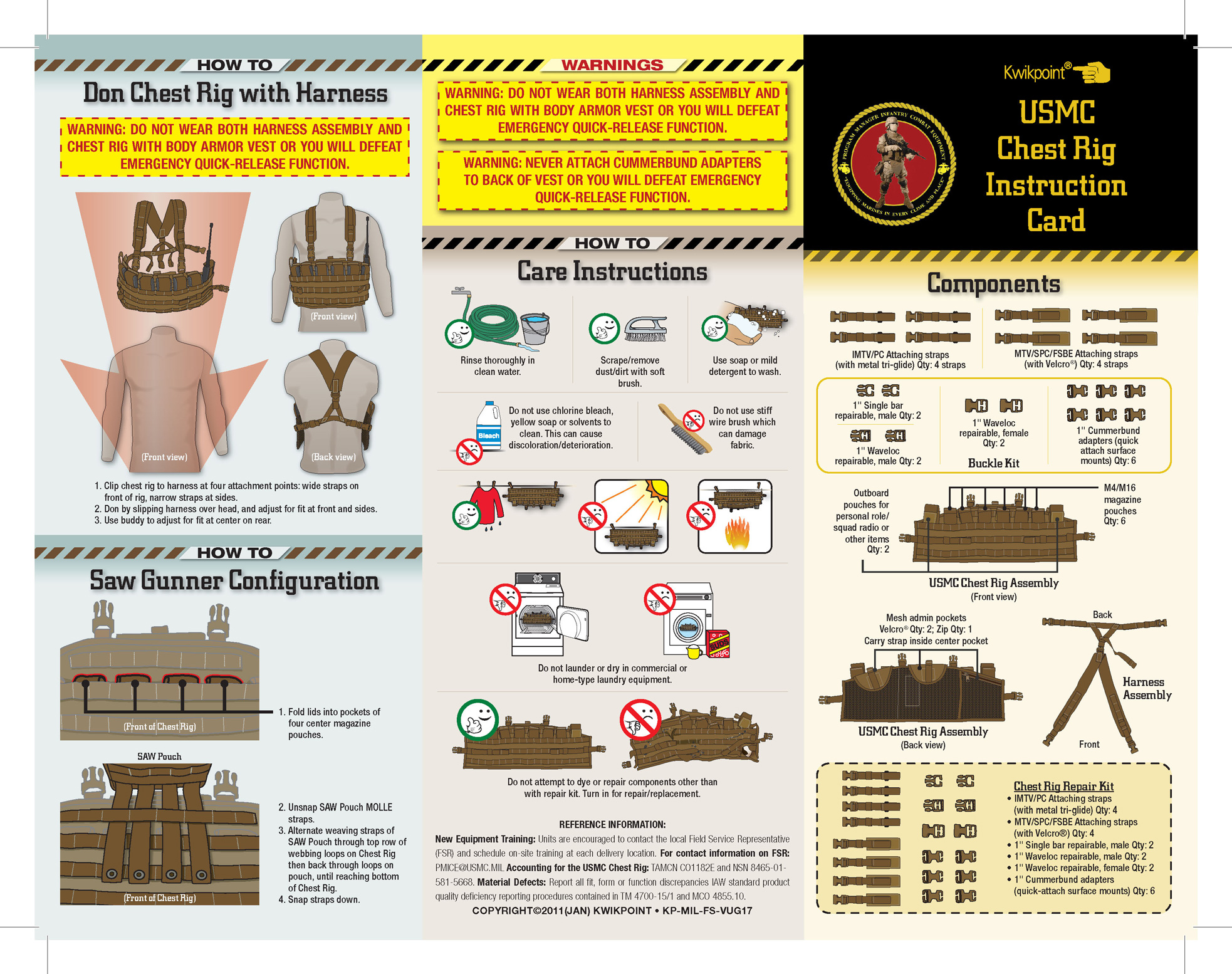Usmc Chest Rig Instruction Card Kwikpoint Com Kwikpoint