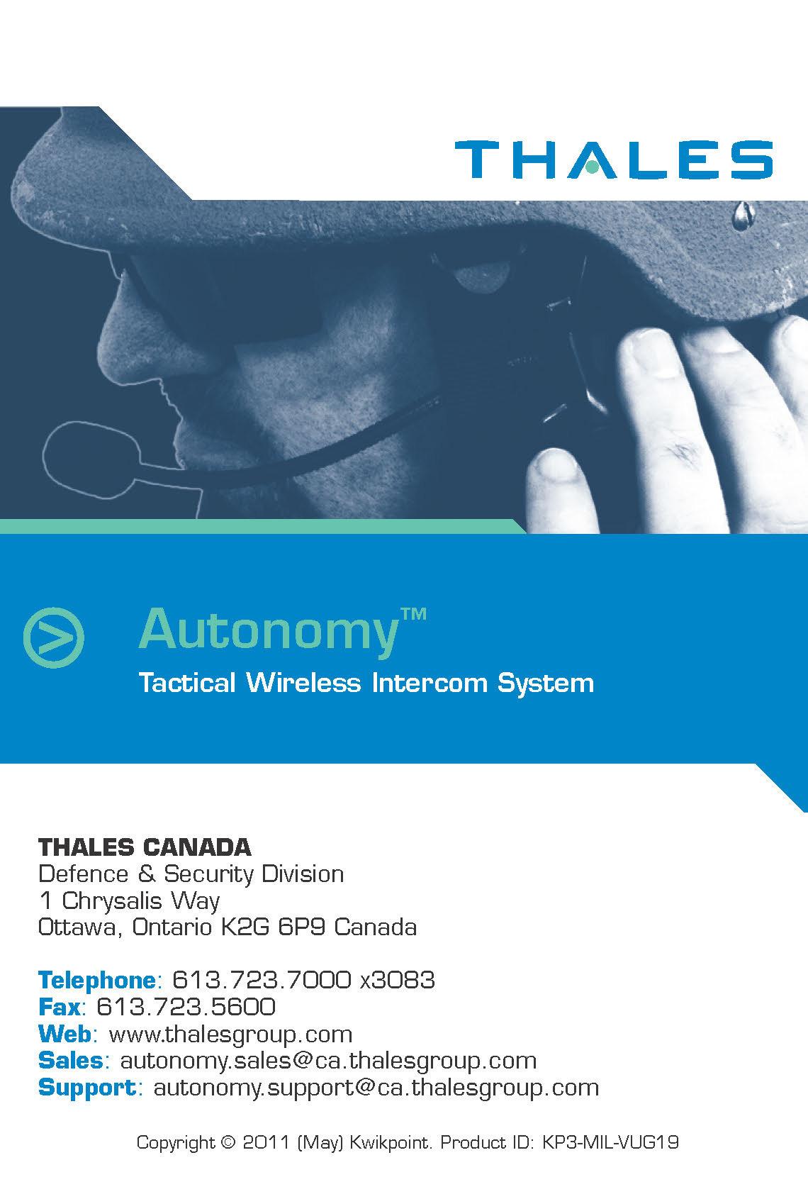 thales autonomy wireless intercom visual user guide